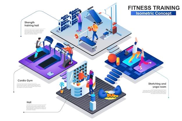 Fitness trag bei turnhalle innen isometrisches konzept flache illustration