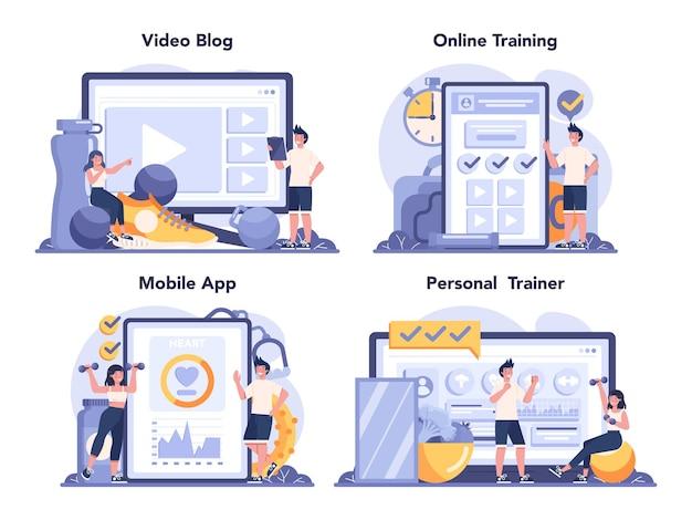 Fitness-trainer online-service oder plattform-set