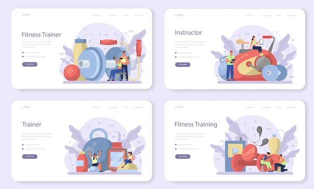 Fitness trainer web banner oder landing page set. training im fitnessstudio mit profisportler. gesunder und aktiver lebensstil. zeit für fitness.