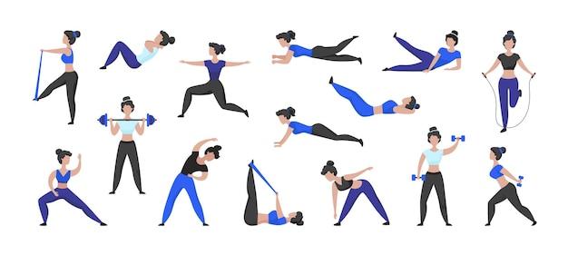 Fitness-training. karikaturfrauenfigur, die sportübungen und training in der turnhalle tut, isolierte weibliche figur