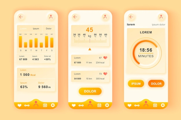 Fitness-training moderne neumorphische design ui mobile app