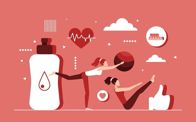 Fitness-training workout, gesunde sportübungen konzept