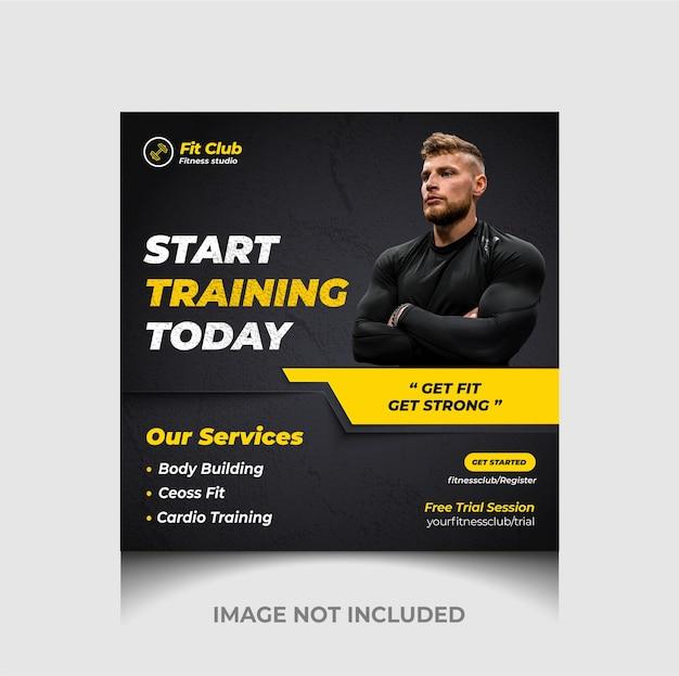 Fitness-trainingsstudio social media oder instagram-post-banner-design premium-vektor