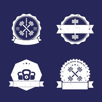 Fitness, turnhalle logos, abzeichen, embleme mit gekreuzten hanteln