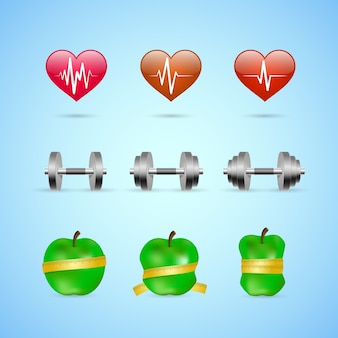 Fitness-übungen fortschritte symbole satz von herzfrequenz stärke und schlankheit isoliert vektor-illustration
