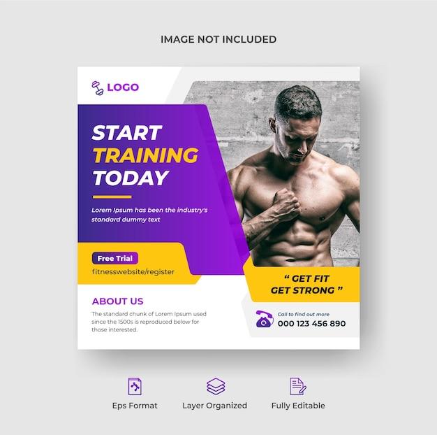 Fitness- und fitness-instagram-post und social-media-werbe-web-banner-vorlage premium-vektor
