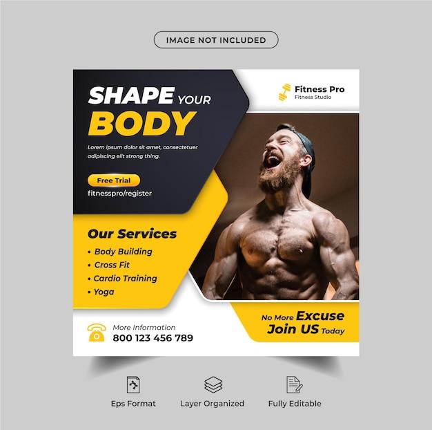Fitness- und fitness-social-media-werbebanner und instagram-post-vorlage premium-vektor