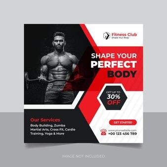 Fitness- und fitness-webbanner social media instagram-post und quadratisches flyer-design