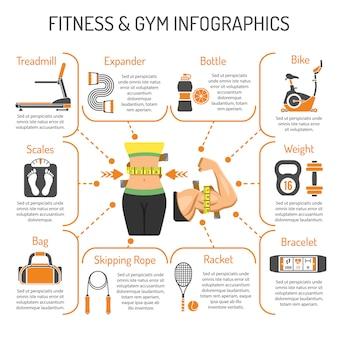 Fitness und fitnessstudio infografiken