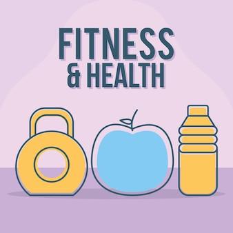 Fitness- und gesundheitsbeschriftung mit satz von fitness- und gesundheitssymbolen