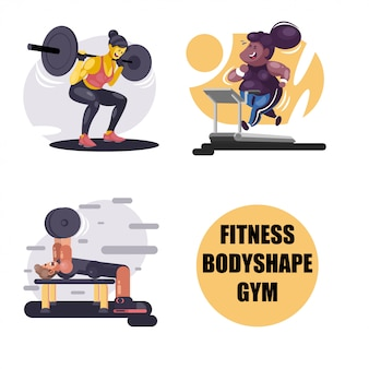 Fitness und gym illustrationen
