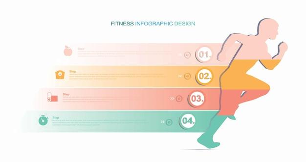 Fitness- und workout-bezogene linie infografik design stock illustration infografik gesund