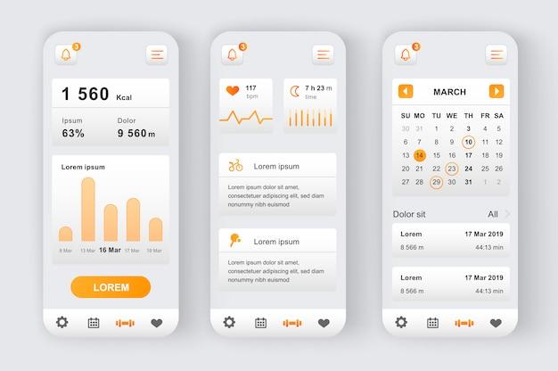 Fitness workout einzigartiges neomorphes kit. fitness-aktivitäts-app mit kalenderplaner, herzfrequenzmesser und online-analyse. sport ui, ux template set. gui für reaktionsschnelle mobile anwendungen.