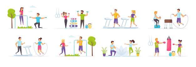 Fitness-workout-set mit personencharakteren in verschiedenen szenen und situationen.