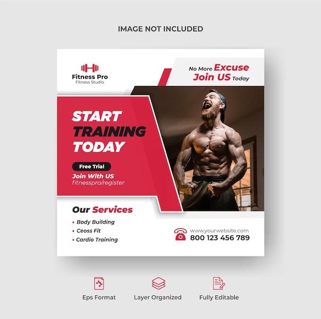 Fitnessbereich social-media-banner-post oder quadratische flyer-design-vorlage premium-vektor