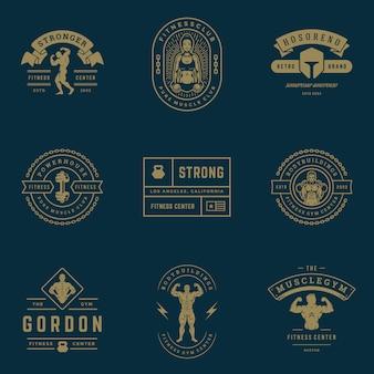 Fitnesscenter und sportgymnastik logos und abzeichen setzen illustration.