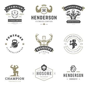 Fitnesscenter und sporthalle logos und abzeichen design set illustration