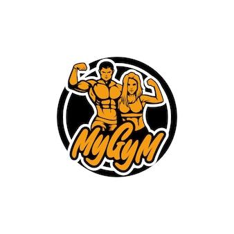 Fitnessclub-logo mit sportlichen männern und frauensport, vektorillustration