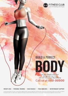 Fitnessclub mit dünnem mädchen-springseil auf aquarellpinsel-effekt-hintergrund
