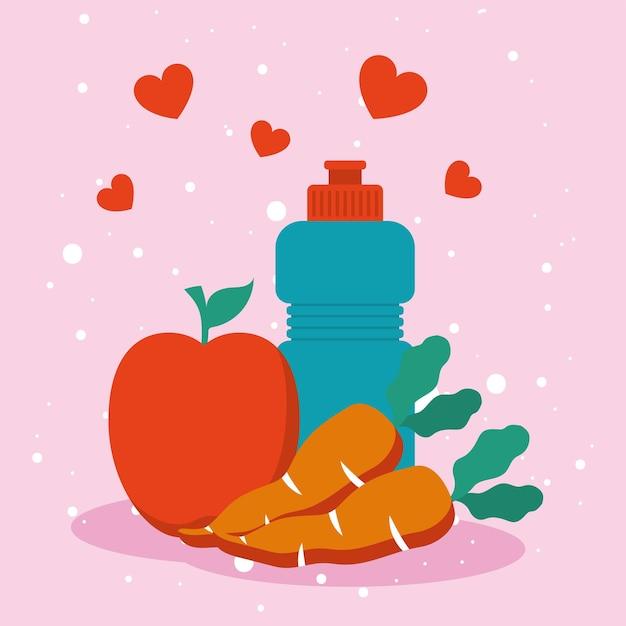 Fitnessflasche und vegetarisches essen