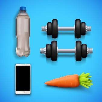 Fitnessgeräte auf blau