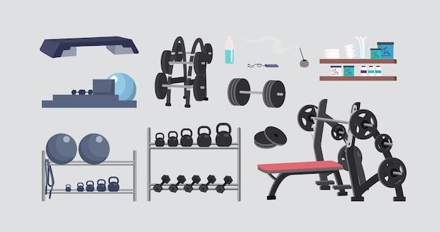 Fitnessgeräte flache farbe objekte gesetzt
