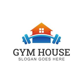 Fitnessgeräte-langhantelshop für persönliche fitness mit home-logo oder markt für workouts zu hause