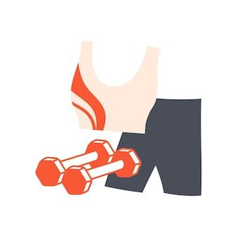 Fitnesskleidung und kurzhanteln sporttop und shorts für morgengymnastik oder heimtraining