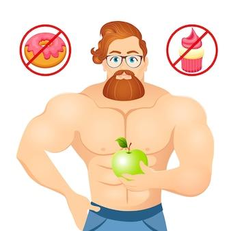 Fitnesskonzept mit sportbodybuilder bearded hipster mit brille und rotem haar. muskuläre fitnessmodelle. nützliche und schädliche lebensmittel. vektorillustration lokalisiert auf weißem hintergrund.