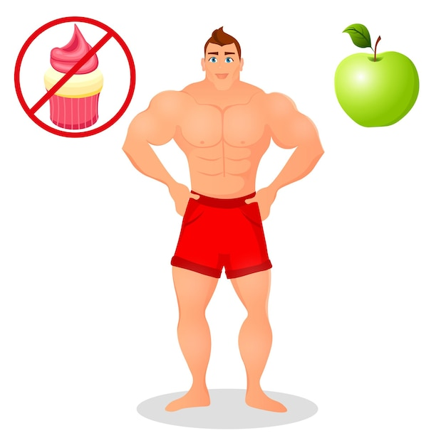 Fitnesskonzept mit sportbodybuildermann. muskuläre fitnessmodelle. sportler mit männlichem körperbau. nützliche und schädliche lebensmittel. vektorillustration lokalisiert auf weißem hintergrund.
