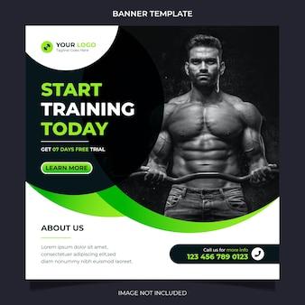 Fitnesskonzept-social-media-banner und instagram-postvorlage für übungs- und fitnesstrainingsvektor