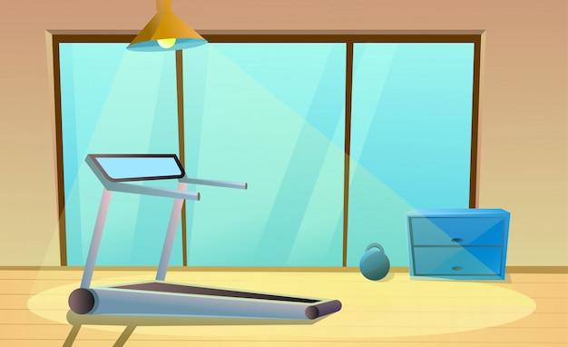 Fitnessraum mit laufband, fenster und kleiner hantel