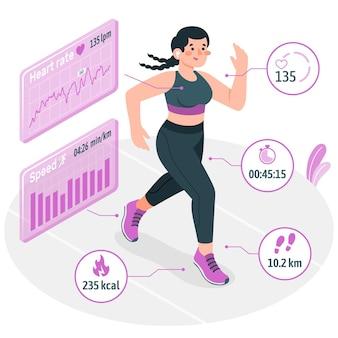 Fitnessstatistik-konzeptillustration Kostenlosen Vektoren