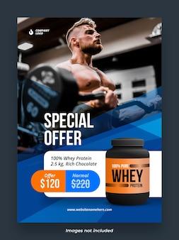 Fitnessstudio bodybuilding und fitness produkt poster vorlage