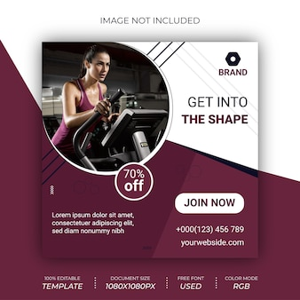 Fitnessstudio fitness instagram banner vorlage