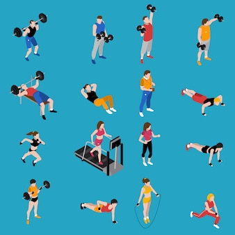 Fitnessstudio isometrische icons set