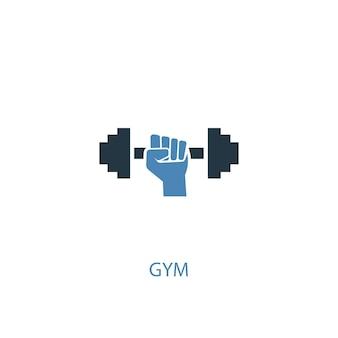 Fitnessstudio konzept 2 farbiges symbol. einfache blaue elementillustration. fitness-studio-konzept-symbol-design. kann für web- und mobile ui/ux verwendet werden