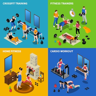 Fitnessstudio konzept icons set