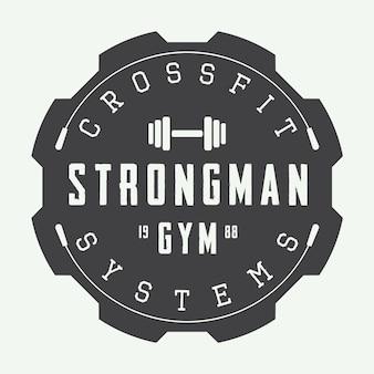 Fitnessstudio-logo im vintage-stil.