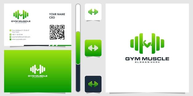 Fitnessstudio-logo mit visitenkarten-design-vektor-premium