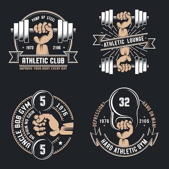 Fitnessstudio retro-logo und abzeichen auf dunkel