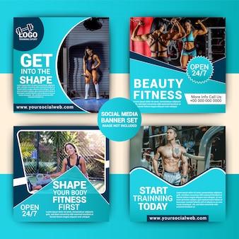 Fitnessstudio social media-marketing-set