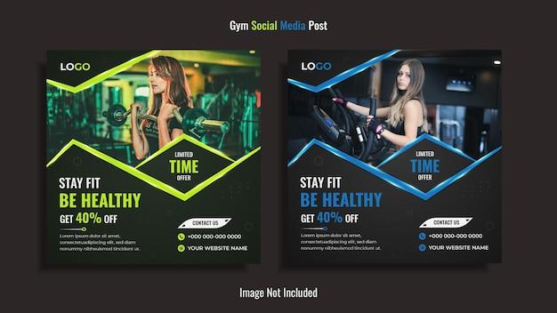 Fitnessstudio social media post design mit grünen und blauen kreativen formen.