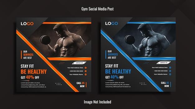 Fitnessstudio social media post design mit kreativen formen mit lichtern.