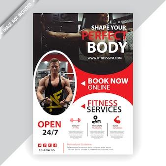 Fitnessstudio und fitness flyer vorlage