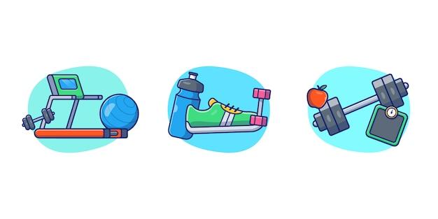 Fitnessstudio und fitness illustration. sportkonzept isoliert