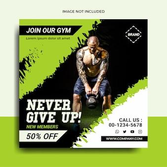 Fitnessstudio und fitness-social-media-post-banner im grünen stil