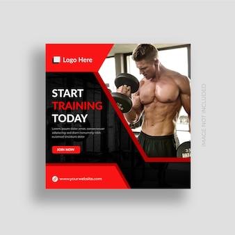 Fitnessstudio und fitness social media post banner instagram post design vorlage premium-vektor