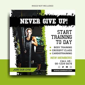 Fitnessstudio und fitness-social-media-post-banner premium-vektor
