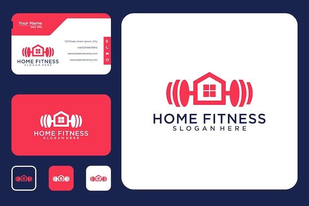 Fitnessstudio zu hause logo-design und visitenkarte